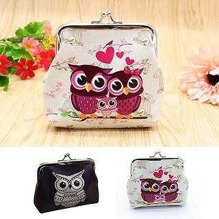 Women's Vintage Cute Owl Pattern Small Wallet Hasp Purse Clutch Bag Handbag