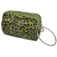 Unique Bargains Metal Ring Leopard Print Dual Zippered Layers Fake Leather Wristlet Purse