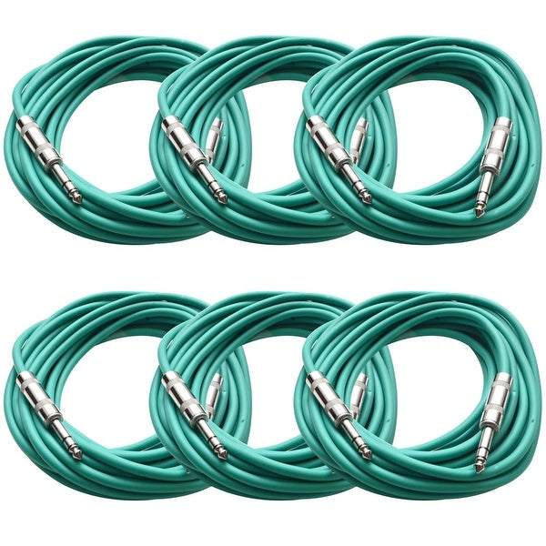 """SEISMIC AUDIO - 6 Pack of Green 1/4"""" TRS 25' Patch Cable - Balanced - Effects EQ"""