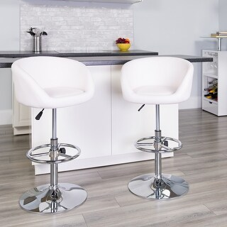 "Link to Contemporary Adjustable Height Barstool with Barrel Back and Chrome Base - 21""W x 18.5""D x 32.5"" - 41""H Similar Items in Dining Room & Bar Furniture"
