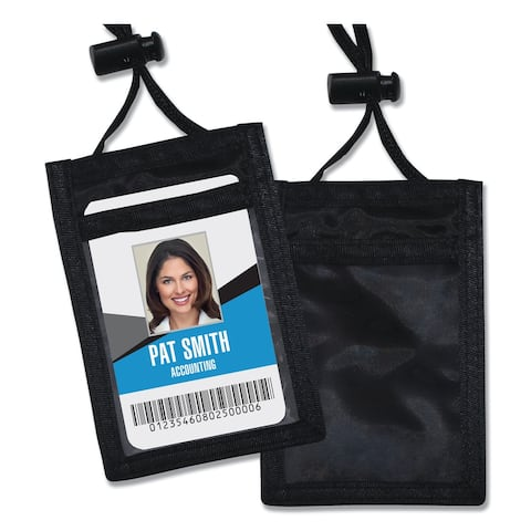 Advantus ID Badge Holder with Convention Neck Pouch Black 12/Pack
