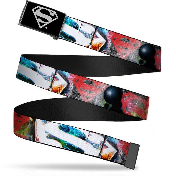 Superman Reverse Brushed Silver Cam Superman Logos Weathered Webbing Web Belt