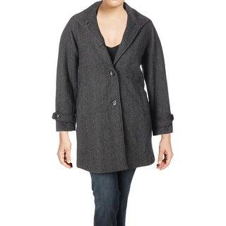 Jones New York Womens Plus Car Coat Winter Tweed