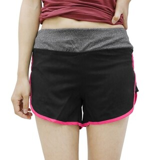 Quick Dry Elastic Waistband Yoga Fitness Sport Shorts Pants Black Magenta Size L
