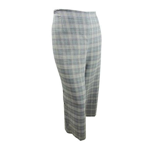 Bar III Womens Trendy Plus Size Plaid Wide-Leg Pants (22W, Multi) - 22W