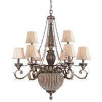 """Crystorama Lighting Group 6729 Roosevelt 9 Light 35-1/2"""" Wide Chandelier with Cr - Weathered Patina"""