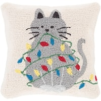 """18"""" Cream White and Ash Gray Cat Wrapped in Lights Decorative Christmas Throw Pillow Cover - BLue"""