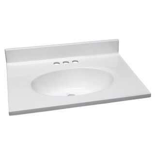"Design House 552000 25"" Marble Drop-In Vanity Top with Integrated Sink and 3 Fau"