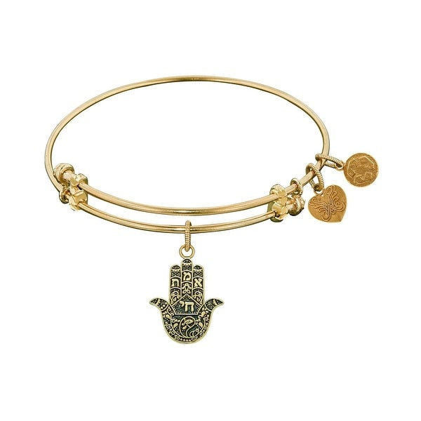 "Angelica Collection Antique Stipple Finish Brass ""Hamsa"" Expandable Bangle"