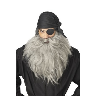 Grey Pirate Beard and Stash for Adult Halloween Costume
