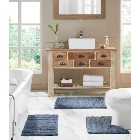 Erin 3-Piece Solid Plush Soft Cotton Bath Rug Set