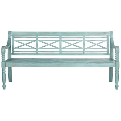 "Safavieh Outdoor Living Karoo Beach House Blue Bench - 70.1"" x 24.4"" x 34.3"""