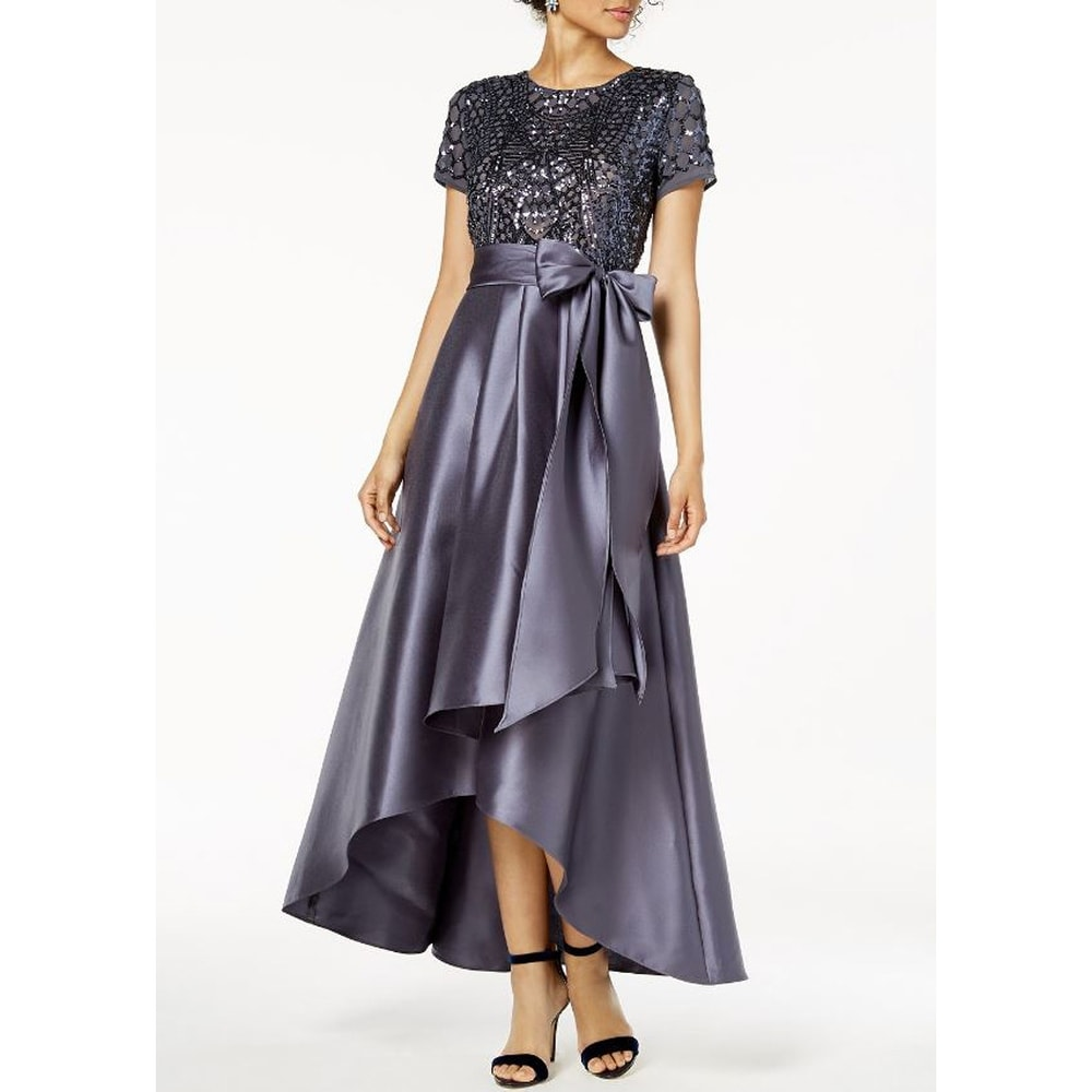 R & M Richards Womens High-Low Sequin-Embellished Gown