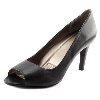 Easy Spirit Keimi Women Peep-Toe Leather Black Heels