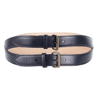 Roberto Cavalli Black Spiral Stitched Double Leather Belt