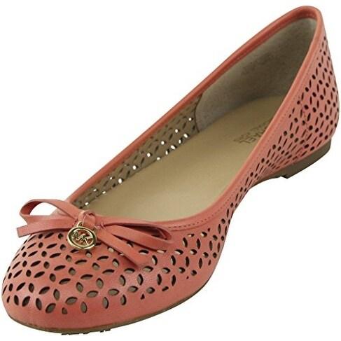MICHAEL Michael Kors Womens Olivia Leather Round Toe Slide Flats