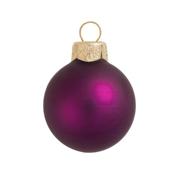 "6ct Matte Plum Purple Glass Ball Christmas Ornaments 4"" (100mm)"