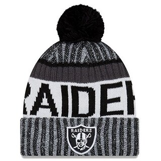 New Era Mens Oakland Raiders 2017 Sideline Cold Weather Sport Knit Hat, Black/White
