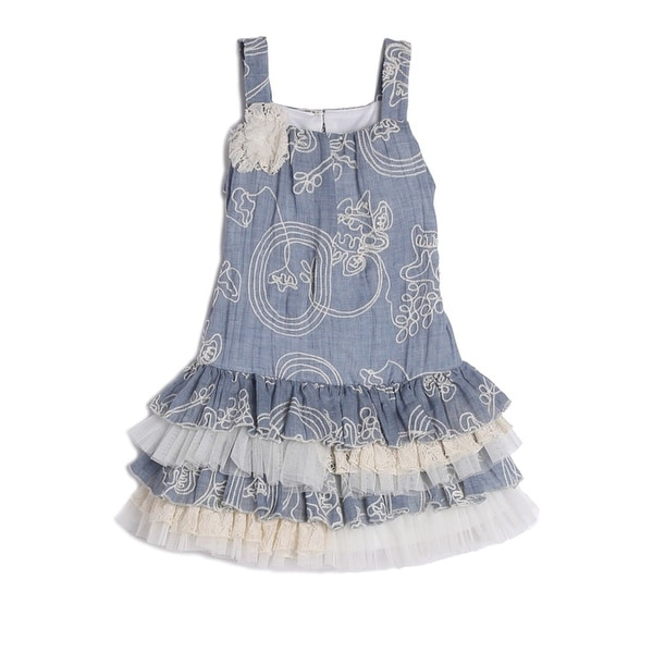 3f5a46854 Shop Isobella   Chloe Little Girls Blue Denim Floral Embroidered ...