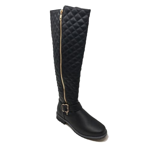 Ameta Black Quilted Honey Boots Women