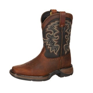 "Durango Western Boots Boys 8"" Cowboy Heel Leather Tan Black DWBT050"