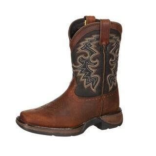 "Durango Western Boots Boys 8"" Cowboy Heel Leather Tan Black"