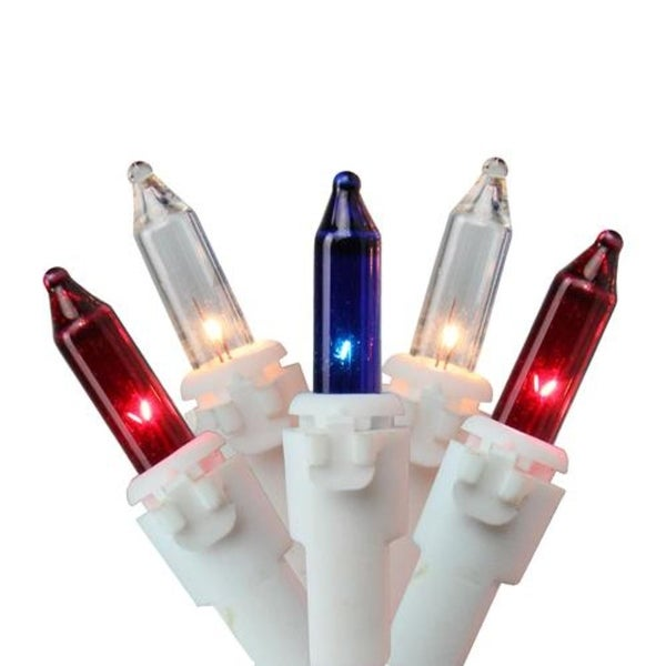 Set of 150 Red, White and Blue Mini Chasing Christmas Lights - White Wire
