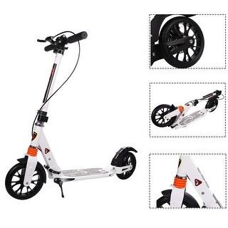 Goplus Folding Aluminum 2 Wheel Adult Kick Scooter Adjustable Height Dual Suspension