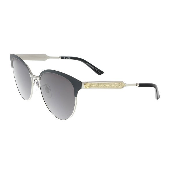 e7dc3fc4f9b49 Shop Gucci GG0074S 001 Black Silver Cat Eye Sunglasses - 57-16-145 ...