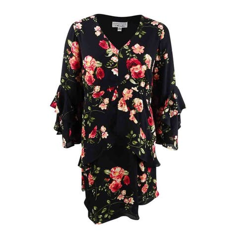 Robbie Bee Women's Plus Size Floral Printed Tiered Dress - Black/Red - 16W