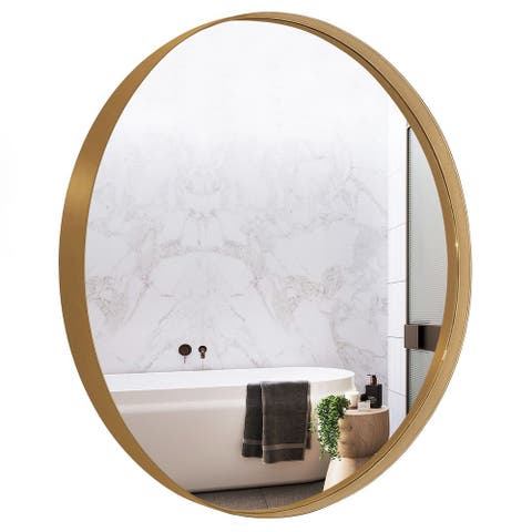 Copper Grove Socorro 30-inch Round Deep Metal Frame Wall Mirror