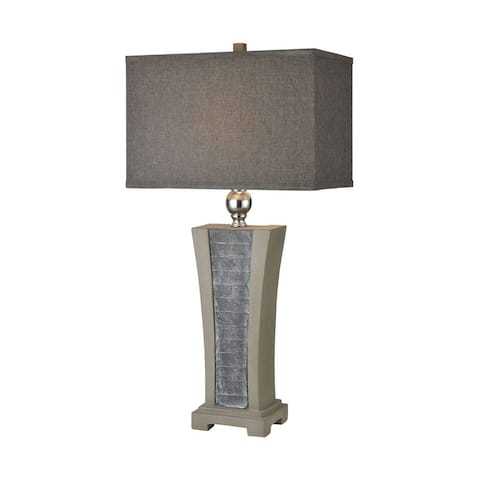 Grey Slate Polished Concrete Brushed Steel Table Lamp Made Of Concrete And Metal And Slate With A
