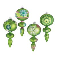 Set of 4 Dazzling Green Snowflake Design Glass Finial Christmas Ornaments 7""