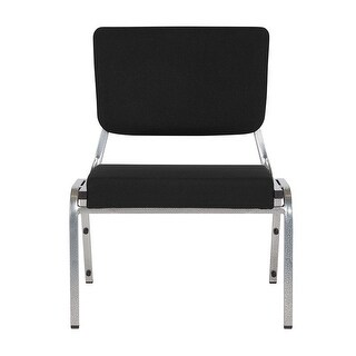 Offex 1500 lb. Rated Black Antimicrobial Fabric Bariatric Chair with 3/4 Panel Back and Silver Vein Frame