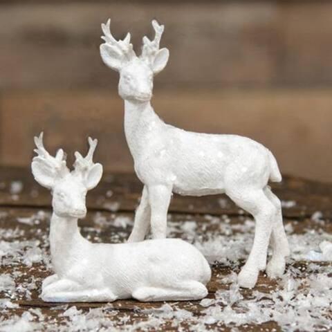2/Set Resin White Deer Ornaments