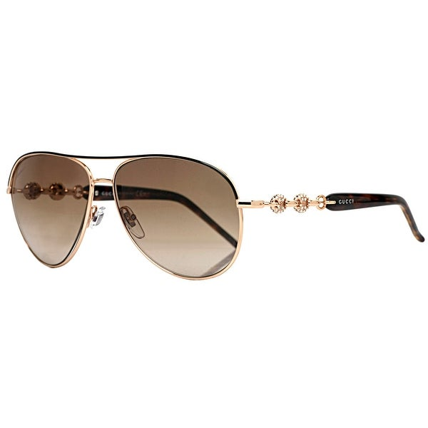 Gucci GG 4239/N/S 0JJ/CC Gold/Black w/ Crystals Aviator Sunglasses - 58mm-13mm-130mm