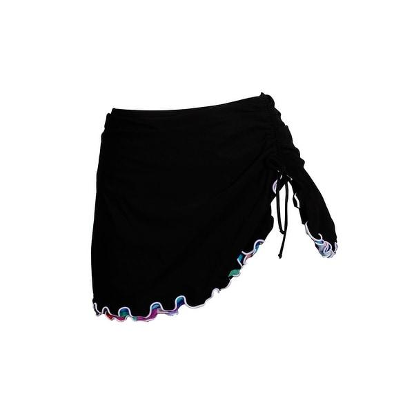 2b3f19e4e Shop Profile By Gottex Black Serendipity Cinch-Tie Slit Swim Skirt ...