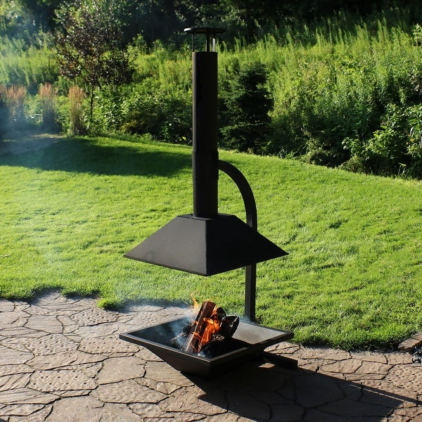 Sunnydaze Black Steel Outdoor Wood-Burning Modern Backyard Chiminea Fire Pit
