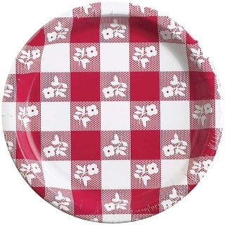 Red - Gingham Banquet Plate 8/Pkg