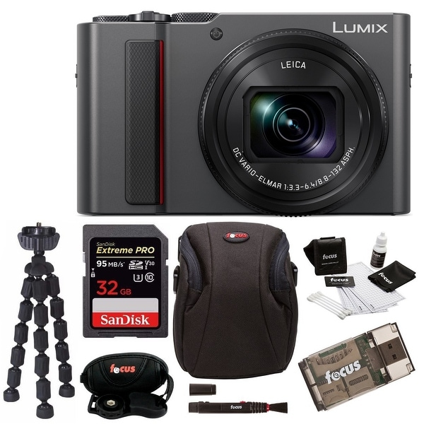 Panasonic LUMIX ZS200 4K Digital Camera (Silver) with 32GB Accessory Bundle