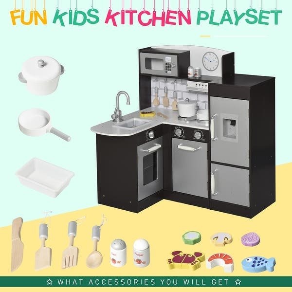 Qaba Kids Kitchen Play Cooking Toy Set For Children With Drinking Fountain Microwave Fridge Plus Accessories Overstock 32199886 2 4 Years