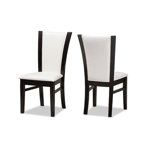 Adley Dark Brown Finished White Faux Leather Dining Chair - 2pcs
