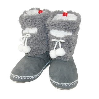 Minx NY Women's Solid Color Fuzzy Boot Slippers with Phone Pocket
