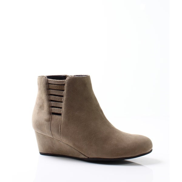 Vaneli Beige Women's Shoes Size 5.5M Laban Suede Wedge Boot