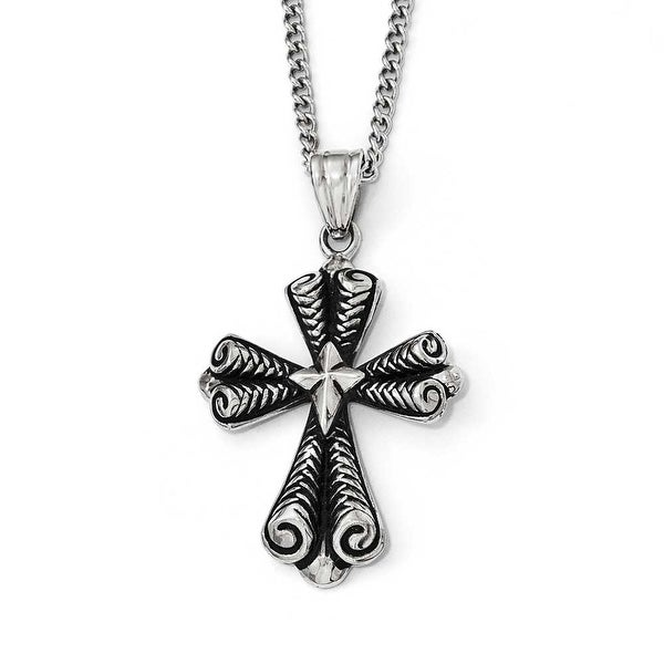 Chisel Stainless Steel Antiqued Cross Necklace - 24 in