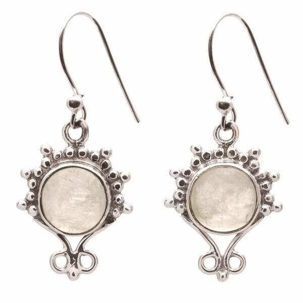 Women's Rainbow Moonstone Elegance Sterling Earrings - Silver