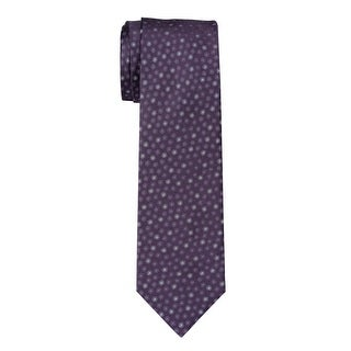 YSL Yves Saint Laurent Spotted Silk Tie Purple & Grey Necktie Made In France
