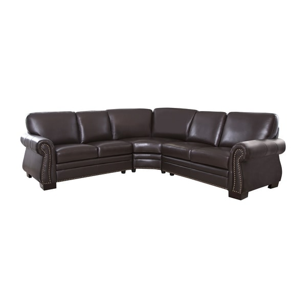 Abbyson Oxford Brown Top Grain Leather Sectional Sofa. Opens flyout.