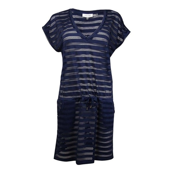 95bfc4fab4 Shop Calvin Klein Women's Open-Knit Striped Tunic Cover Up (S/M, Navy) -  navy - S/M - Free Shipping On Orders Over $45 - Overstock - 21587475