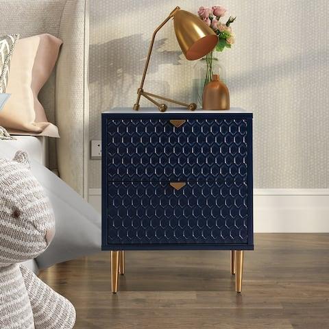 Celipu Honeycomb Shape Modern Nightstand with Drawer